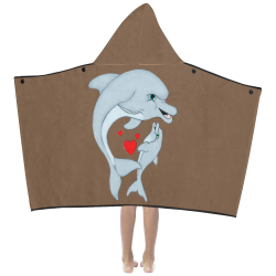 Dolphin Love Brown Kids' Hooded Bath Towels