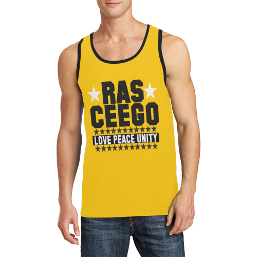 Ras CeeGo Yellow Black and White Men's All Over Print Tank Top (Model T57)