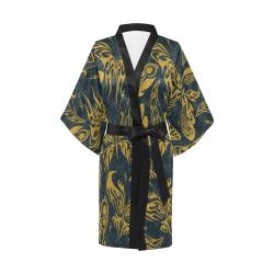 Gold Glitter Tribal Tattoo Butterflies Pattern Kimono Robe
