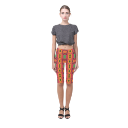 Tribal shapes in retro colors (2) Hestia Cropped Leggings (Model L03)