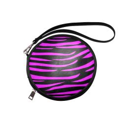 Tiger Stripes Black and Pink Round Makeup Bag (Model 1625)