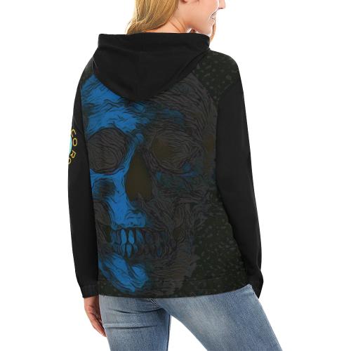 SKULL ART BLUE CRASSCO All Over Print Hoodie for Women (USA Size) (Model H13)