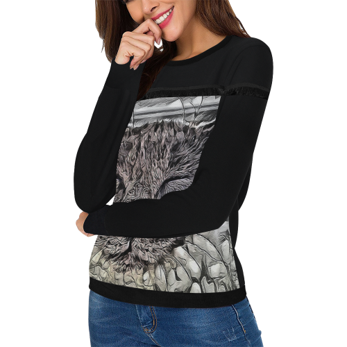SLEEPING CAT LADYLIKE Women's Fringe Detail Sweatshirt (Model H28)