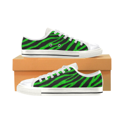 Ripped SpaceTime Stripes - Green Canvas Women's Shoes/Large Size (Model 018)