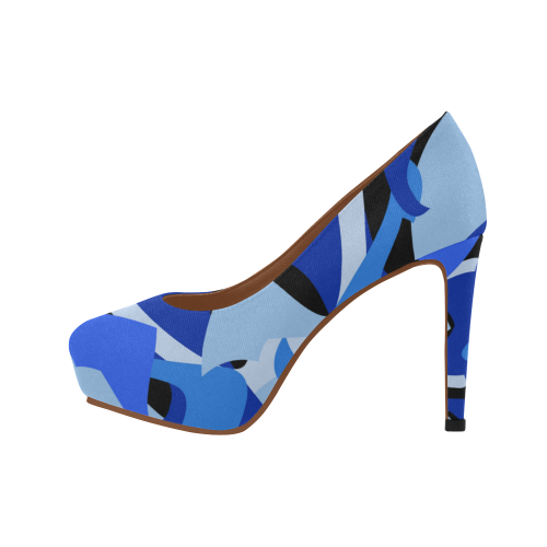 Camouflage Abstract Blue and Black Women's High Heels (Model 044)