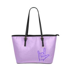 Purple ASL I Love You Hand Leather Tote Bag/Large (Model 1651)