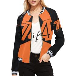 Dundealent 5 stars I orange /black All Over Print Bomber Jacket for Women (Model H21)