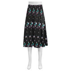 galaxy stars Mnemosyne Women's Crepe Skirt (Model D16)