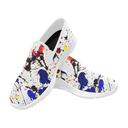 Blue & Red Paint Splatter (White) Orion Slip-on Men's Canvas Sneakers (Model 042)