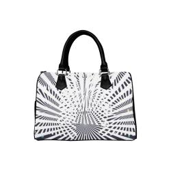 Black & White Doppler Boston Handbag (Model 1621)