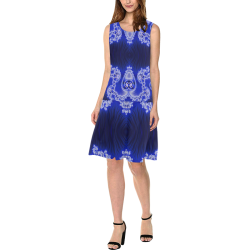 Blue and White Hearts  Lace Fractal Abstract Sleeveless Splicing Shift Dress(Model D17)