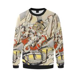Ganesha Drummer Hoodie  - Burnt Orange and Yellow Original Art Men's Oversized Fleece Crew Sweatshirt/Large Size(Model H18)