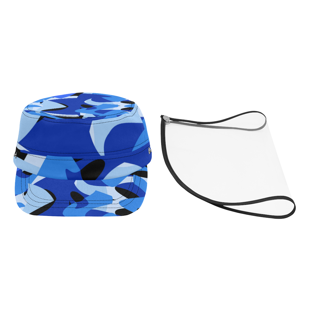 Camouflage Abstract Blue and Black Military Style Cap (Detachable Face Shield)