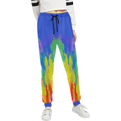 Flames Paint Abstract Classic Blue Unisex All Over Print Sweatpants (Model L11)