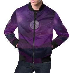 Purple Moon Night All Over Print Bomber Jacket for Men (Model H19)