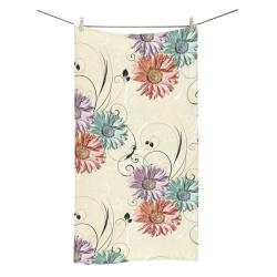 "Flowers on Yellow Bath Towel 30""x56"""