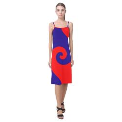 Mod Hippie Red and Blue Curlicue Swirls Alcestis Slip Dress (Model D05)