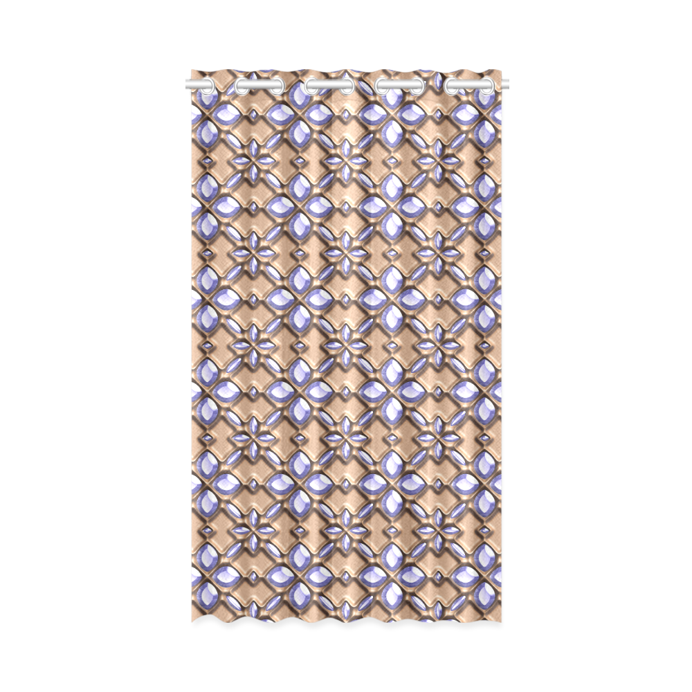 """Blue glass pattern in brown background. New Window Curtain 52"""" x 84""""(One Piece)"""