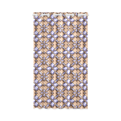 "Blue glass pattern in brown background. New Window Curtain 52"" x 84""(One Piece)"