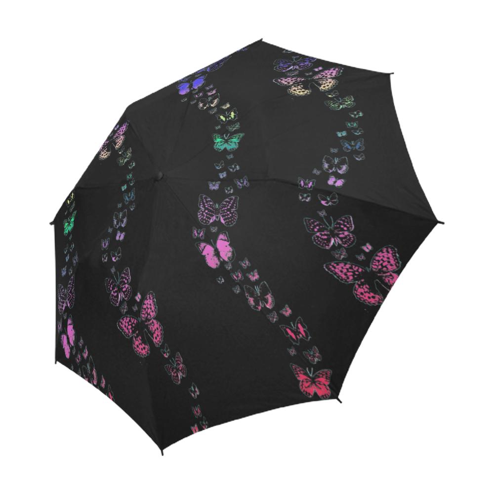 Rainbow Butterflies Semi-Automatic Foldable Umbrella (Model U05)