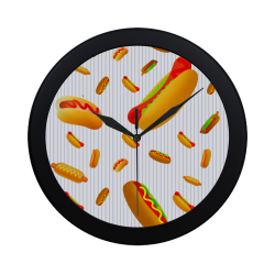 Hot Dogs on Pinstripes Circular Plastic Wall clock