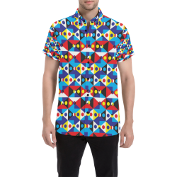 Funky Abstract Shapes 2 Men's All Over Print Short Sleeve Shirt (Model T53)