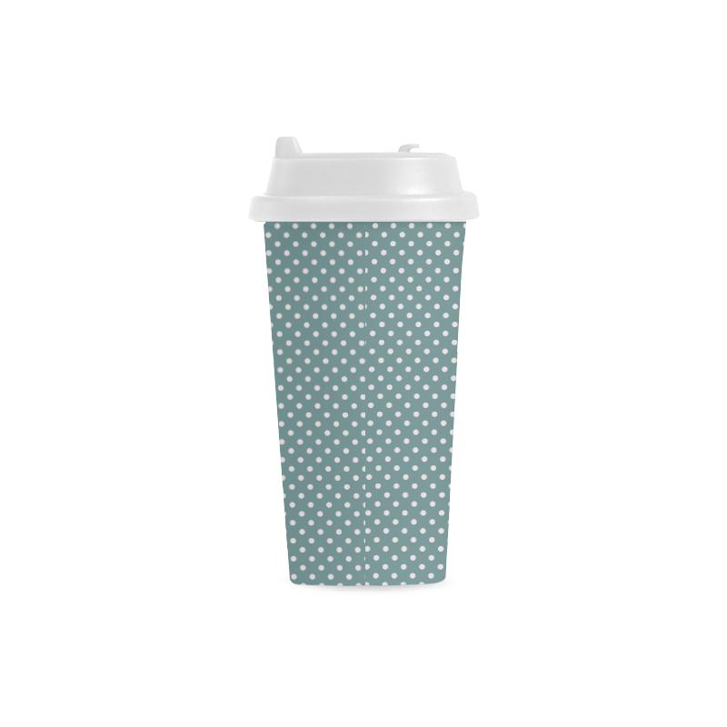 Silver blue polka dots Double Wall Plastic Mug