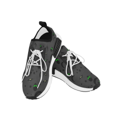Alien Flying Saucers Stars Pattern (White/Charcoal) Women's Draco Running Shoes (Model 025)