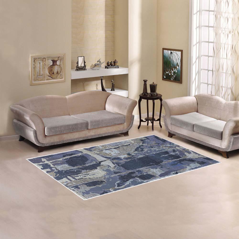 Ayumi, Blue, Gray, Silver Abstract Area Rug 5'x3'3''