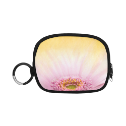 Gerbera Daisy - Pink Flower on Watercolor Yellow Coin Purse (Model 1605)