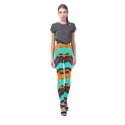 Blue orange black waves Cassandra Women's Leggings (Model L01)