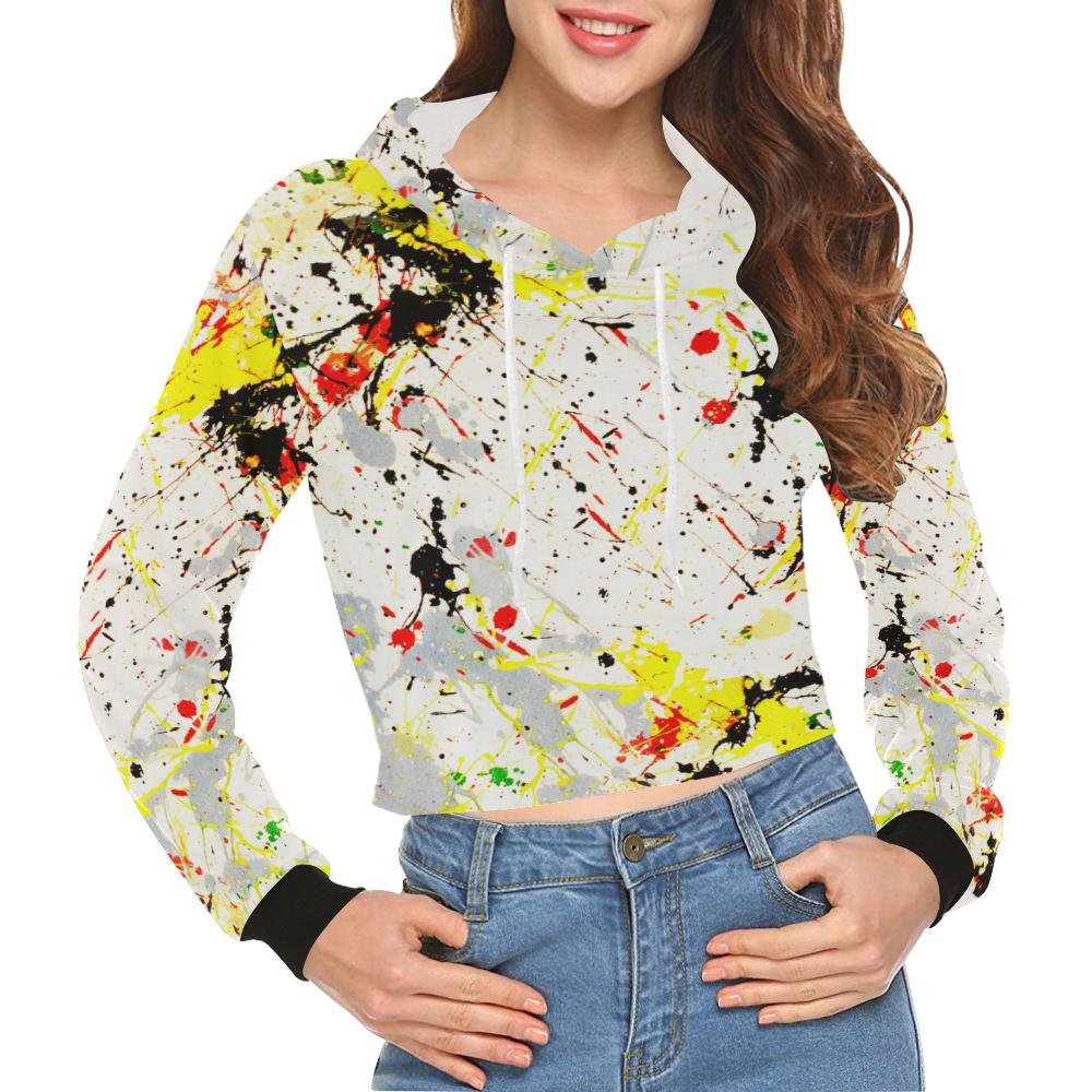 Yellow & Black Paint Splatter All Over Print Crop Hoodie for Women (Model H22)