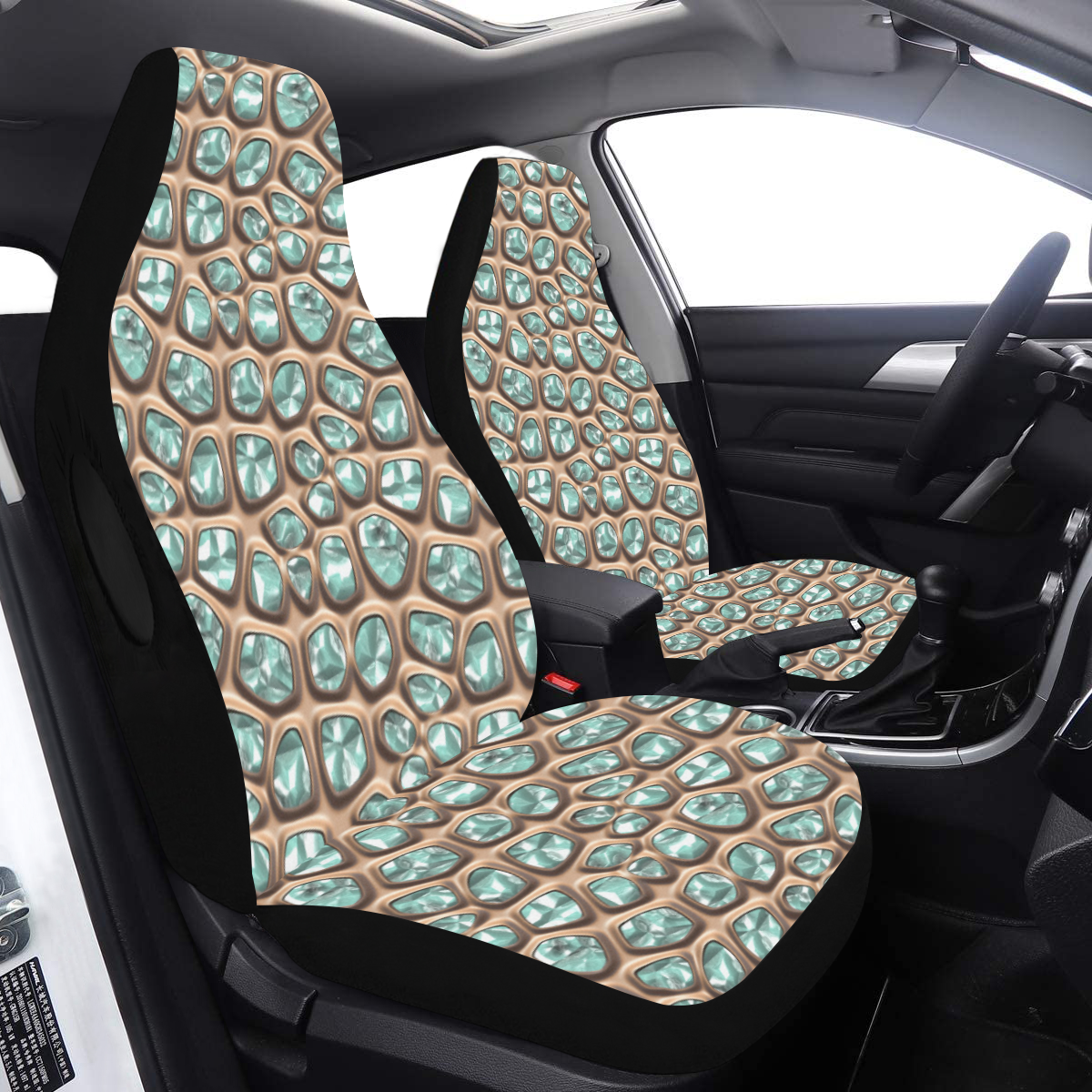 Green crystals Car Seat Cover Airbag Compatible (Set of 2)