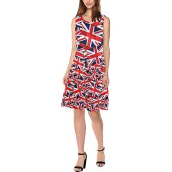 Union Jack British UK Flag Sleeveless Splicing Shift Dress(Model D17)