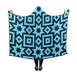 Blue/Black Geometric Pattern Hooded Blanket 60''x50''