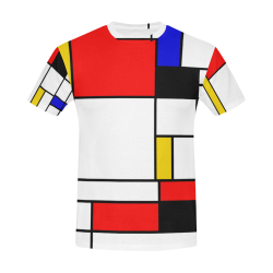 Bauhouse Composition Mondrian Style All Over Print T-Shirt for Men (USA Size) (Model T40)