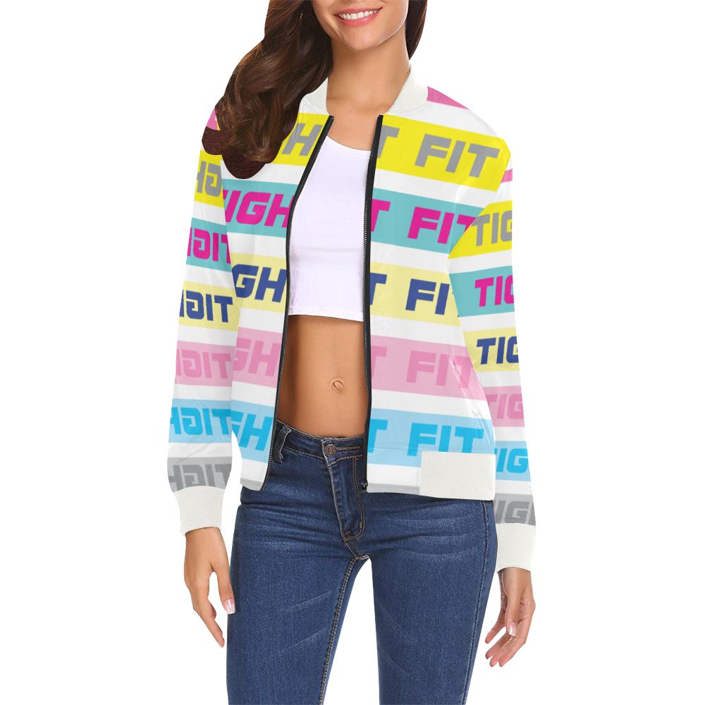 TF Colour Bars 1 All Over Print Bomber Jacket for Women (Model H19)