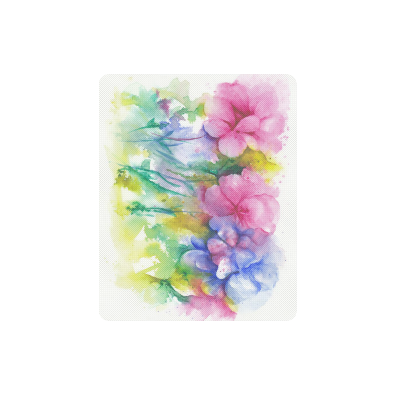 Tropical Flowers, Bold Floral Watercolor Rectangle Mousepad