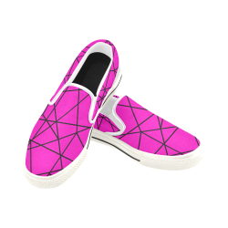 Pink Abstract Women's Slip-on Canvas Shoes (Model 019)