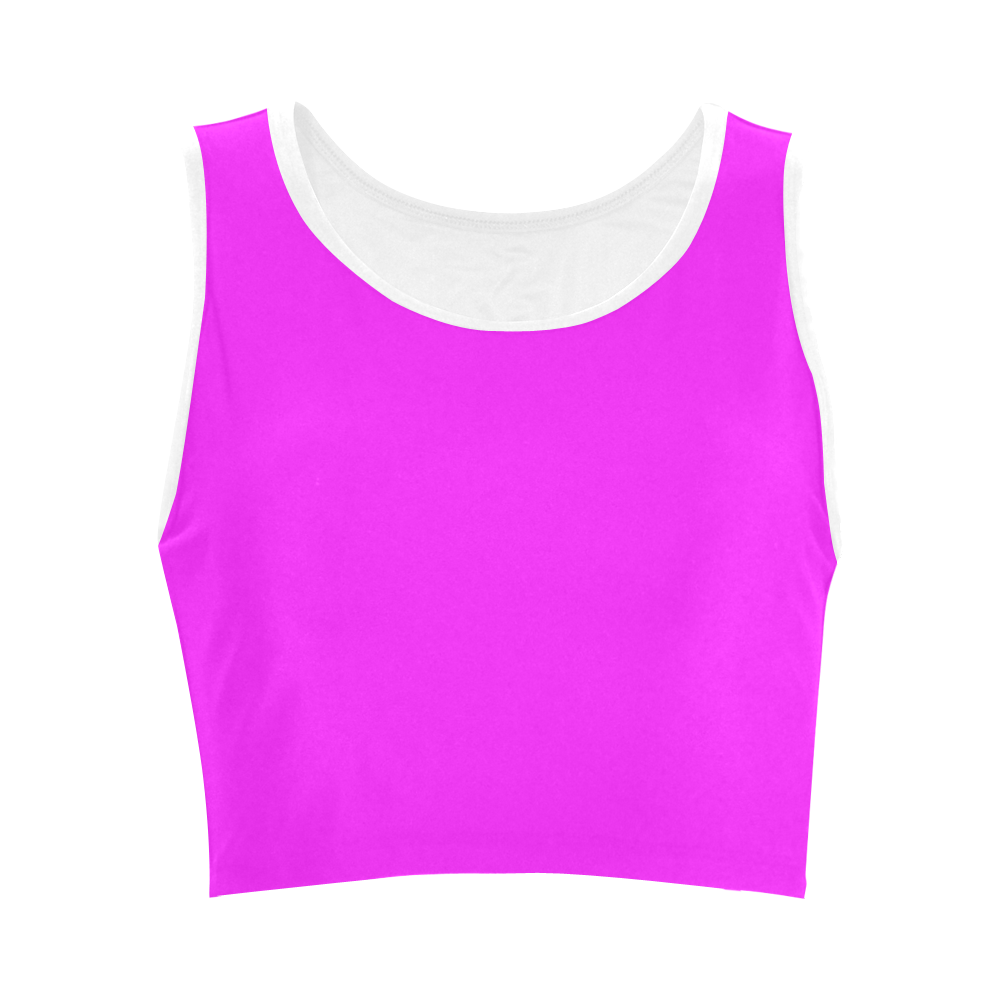 Bright Neon Pink / White Women's Crop Top (Model T42)
