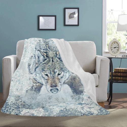 "Snow Wolf Ultra-Soft Micro Fleece Blanket 60""x80"""