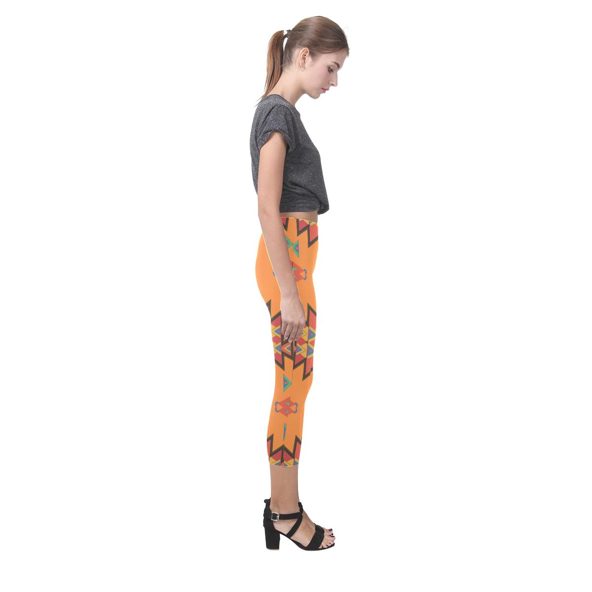 Misc shapes on an orange background Capri Legging (Model L02)