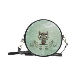Cute little owl, diamonds Round Sling Bag (Model 1647)
