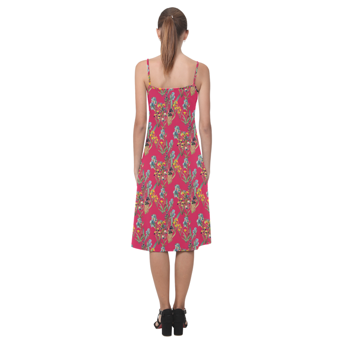 Irises on a red background Alcestis Slip Dress (Model D05)