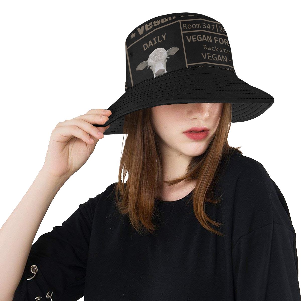 VEGAN FOR ANIMALS LADYLIKE All Over Print Bucket Hat