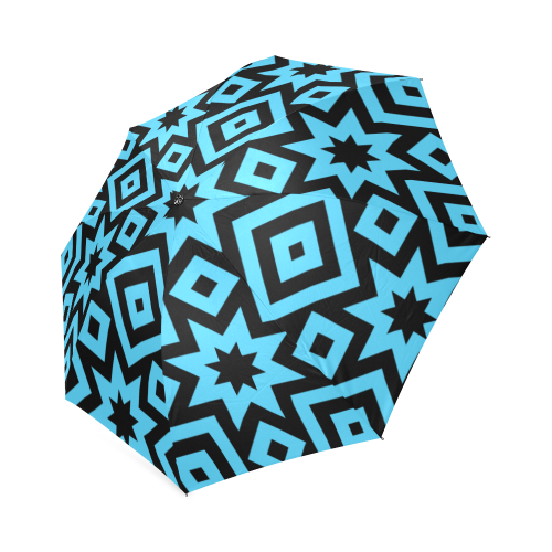 Blue/Black Geometric Pattern Foldable Umbrella (Model U01)