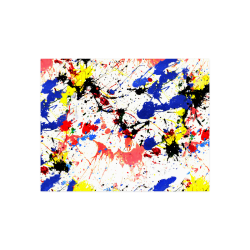 """Blue and Red Paint Splatter Poster 14""""x11"""""""
