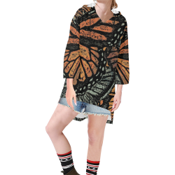 Monarch Collage Step Hem Tunic Hoodie for Women (Model H25)