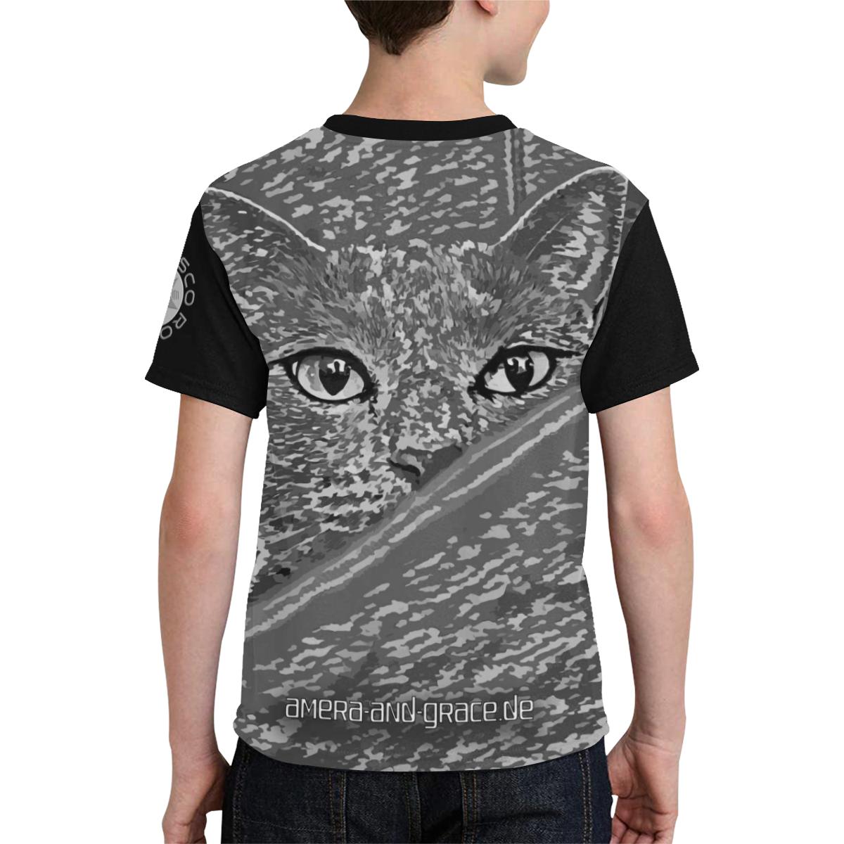 CAT AMERA CAMOUFLAGE GREY II Kids' All Over Print T-shirt (Model T65)