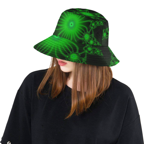 Green Flower Bloom All Over Print Bucket Hat